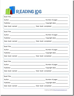 Book Report Form And Reading Log Printables