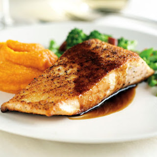 Arctic Char with Chinese Broccoli and Sweet Potato Purée.