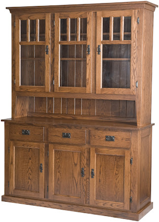 "84"" high x 68"" wide x 20"" deep Mission China Cabinet in Medium Oak"