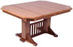 60 x 42 Woodland Dining Table, Custom Mixed Wood Fluting on Skirt Legs and Tabletop, Oak and Walnut Hardwood, Natural Finish