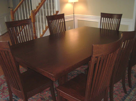 "80"" x 42"" Table and Lancaster Chairs in Antique Cherry"