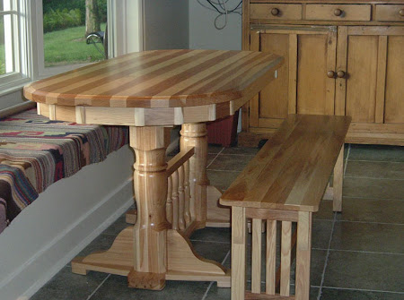 , Riverside Table and Corbel Mission Bench in Natural Hickory