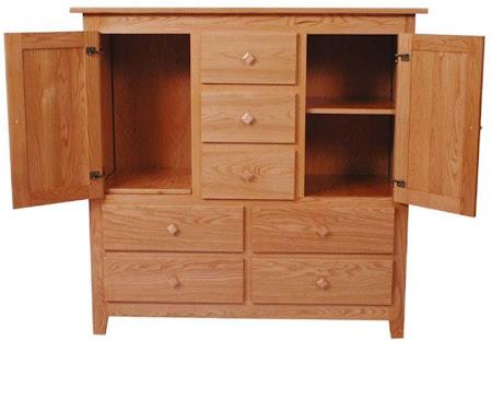 Shaker Wardrobe Dresser, Oak Hardwood, Medium Finish