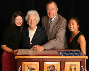 Original Denise Duong painted hope chest signed by George H.W. & Barbara Bush entitled 'A piece of History' width=