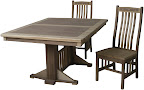 60 x 42 Woodland Dining Table, Custom Double Border Design, Hickory and Walnut Hardwood, Oil and Wax Finish