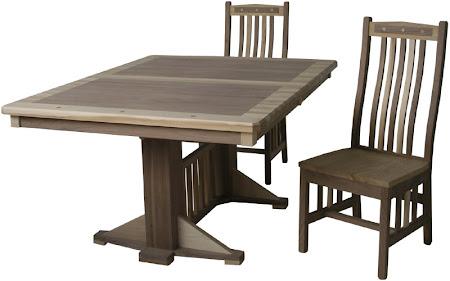 "60"" x 42"" Woodland Table and Raised Mission Chairs in Custom Mixed Wood"