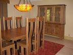 Shenzen Dining Table, Shenzen Chairs, Zen Shaker China Cabinet, Oak Hardwood, Medium & Midnight Finish