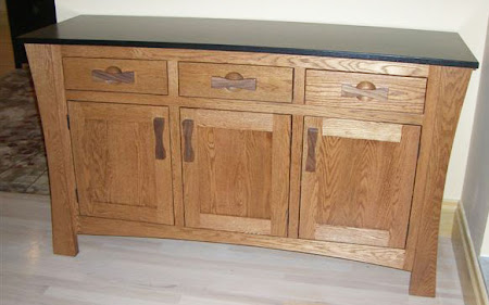 "36"" high x 56"" wide x 20"" deep Zen Kitchen Buffet in Medium & Midnight Oak"