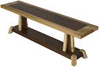 Turin Bench, Custom Border Design, Natural Hickory and Walnut