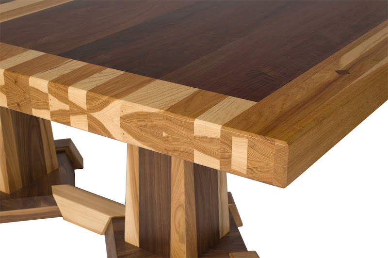 Turin Table Base, Custom Double Border Tabletop Design, Hickory And Walnut  Hardwoods