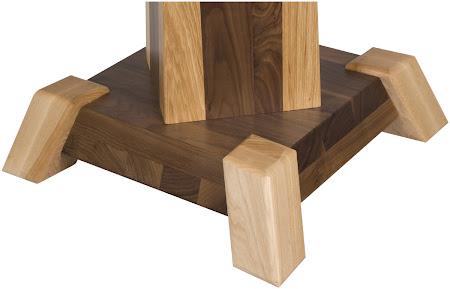 Turin Table Base Detail, Custom Double Border Design, Hickory and Walnut Hardwood, Natural Finish