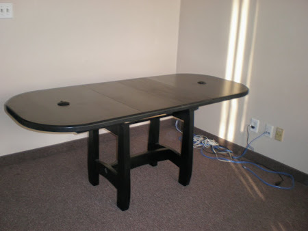 """50"""" x 32"""" Montreal Table in Midnight Oak, Custom with Wire Guides and No Skirt"""