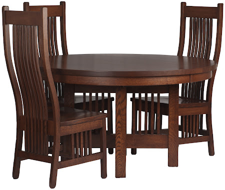 54 Inch Diameter Vail Dining Table, Vail Dining Chair in Mahogany Oak