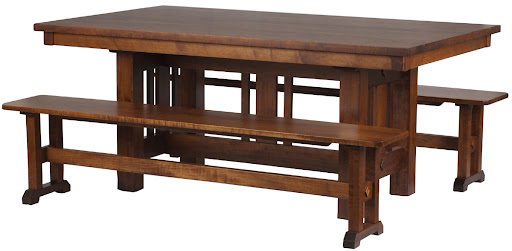 "70"" x 42"" Plains Mission Dining Table and Trestle Bench in Colonial Maple"
