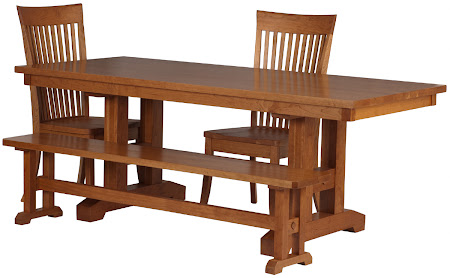 80 x 34 Trestle Table, Lancaster Chair, Trestle Bench in Natural Cherry