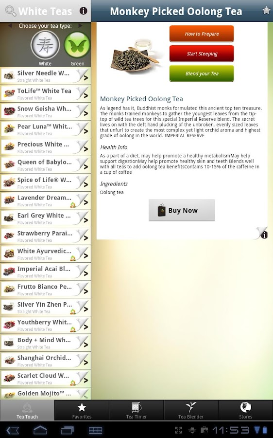 Teavana Perfect Tea Touch - screenshot