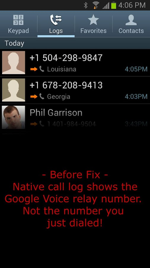 GV Outbound Call Log Repair - screenshot