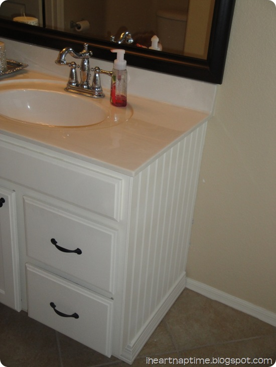 white beadboard in bathroom