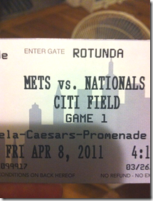 mets 2011 opening day ticket