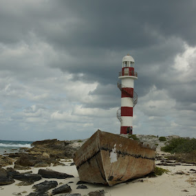 Cancun Lighthouse by Susan Fries - Buildings & Architecture Architectural Detail ( cancun, red and white, shipwreck, lighthouse, beach, boat,  )