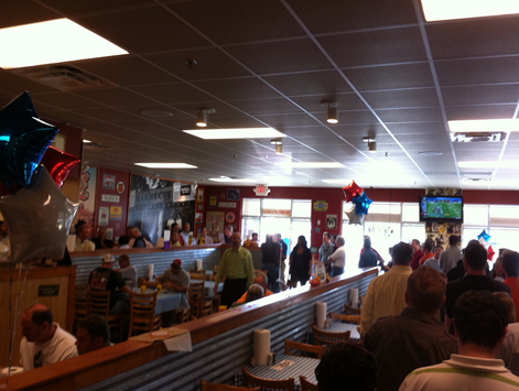 Dickey's, with 35 people ahead and 20 behind me.