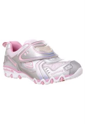 391e1d04bd3 De Skechers Luminator Série Gemz FOGO spacy LILLY em prata e rosa. Pisca a  cada passo Pink Velcro prática. Palmilha  Têxtil Forro  forro têxtil