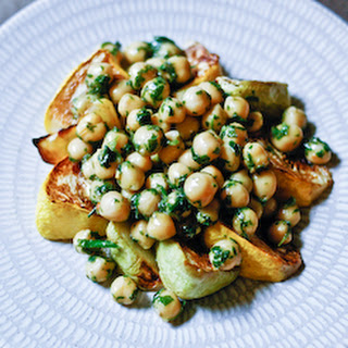 Roasted Patty Pan Squash and Herbed Chickpeas