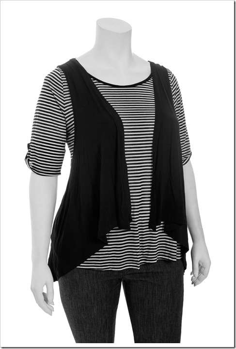 striped jersey tee with vest