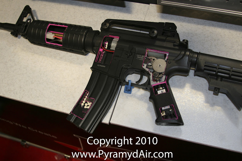 Airsoft Guns, ICS, Shot Show 2011 News Updates, Shot Show 2011 ICS Booth, ICS M4 Airsoft AEG Internals Cross-Section,Airsoft Automatic Electric Guns, Airsoft M4, Airsoft assault rifle,Airsoft AEG, M4, Pyramyd Air, Pyramyd Airsoft Blog, Airsoft Obsessed, Airsoft Blog