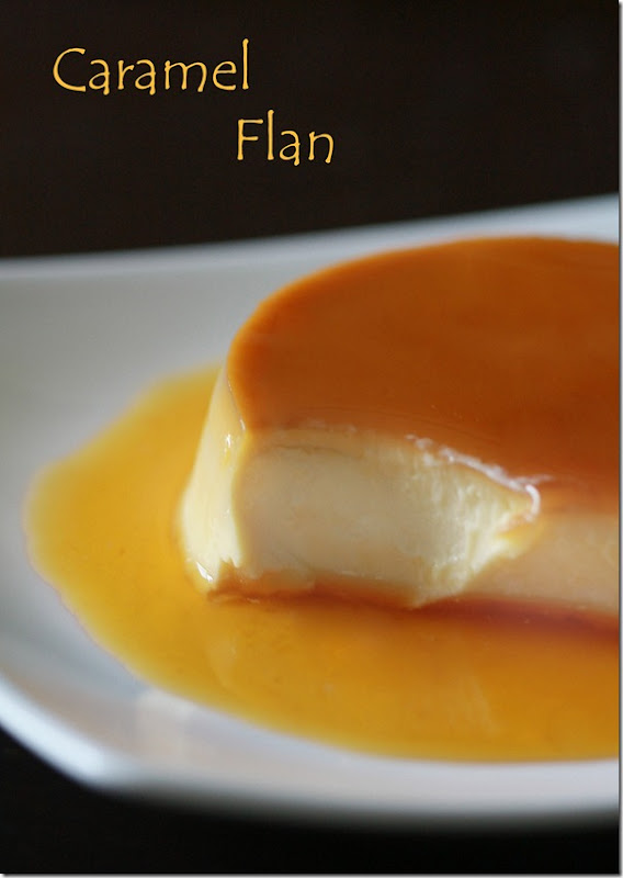 flan recipe made and plated with caramel sauce