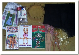 Rummage sale haul, crafts supplies, dolls and videos.