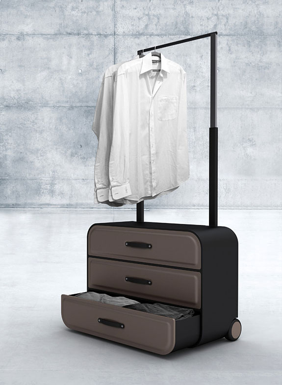 The Extendable Handle Allows You To Hang Up Your Clothes, Making The  Suitcase Its Own Closet.