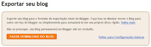 Exportar seu blog