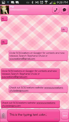 GO SMS - Pink Plaid 2