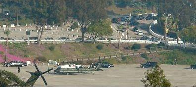 Presidential helicopters landing at Dodger Stadium. Photo by Mary-Austin Klein
