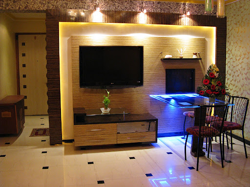 Three Spot Lights Add Shower Of Golden Glow On Background Compact Tv Unit Without Adding An Glare The Display Screen My Television