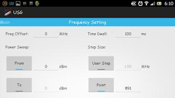 Screenshot of USB signal generator mobile