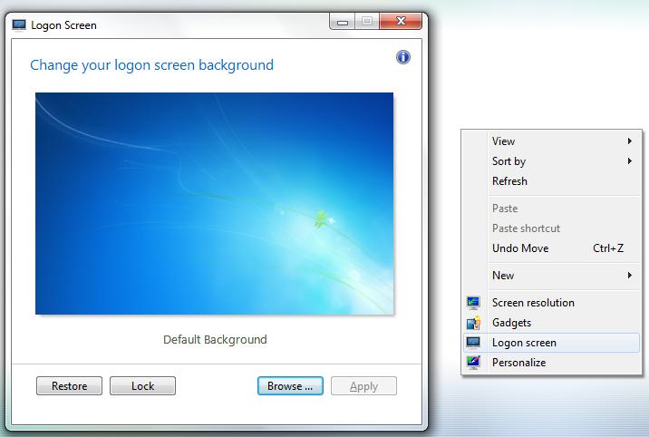 Astounding Change Windows 7 Login Screen From Desktop Context Menu Home Interior And Landscaping Spoatsignezvosmurscom