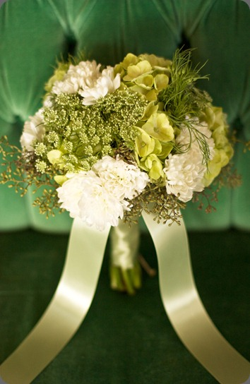 white_and_green_bouquet green hydrangea, Queen Anne's Lace, white chrysanthemums and seeded eucalyptus.  botanica