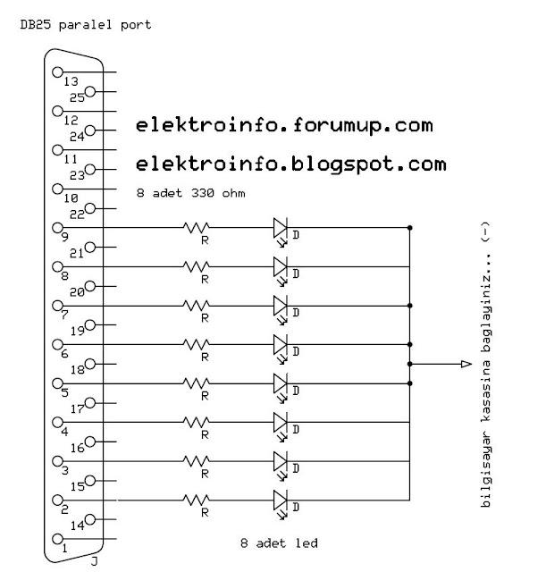 bilgisayar lpt port ile cihaz röle kontrol