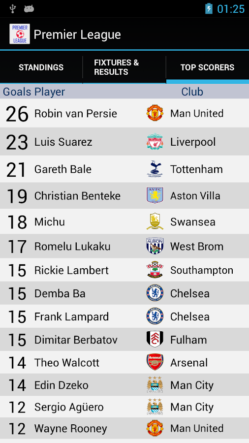 Premier League Standings - screenshot