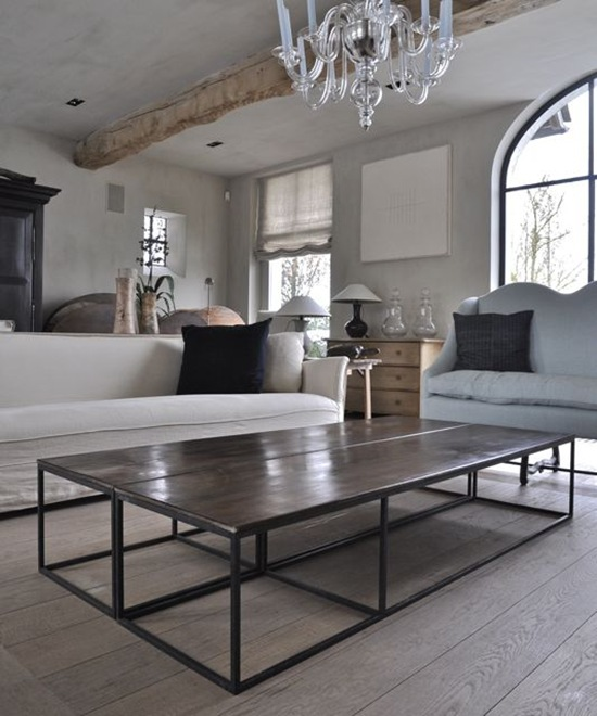 A Coffee Table With 18th Century Italian Walnut Panels On Iron Frames