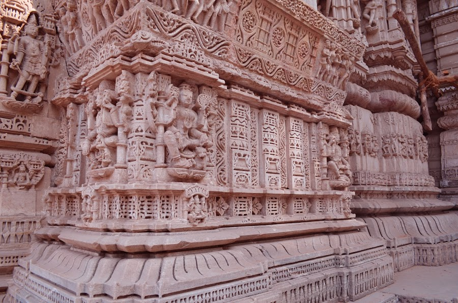 Carving on an Indian Jain Temple by Parul Tripathi - Buildings & Architecture Architectural Detail ( jain temple, ahmedabad, gujarat, carving in redstone, hathisingh temple, india,  )