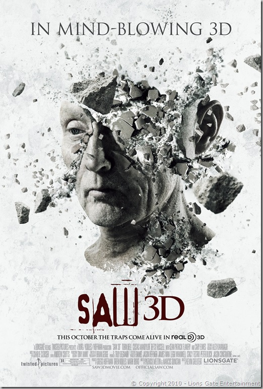 SAW 3D teaser poster © Copyright 2010 - Lions Gate Entertainment [click to enlarge]