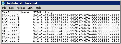 PowerShell Script - Search Active Directory and Generate SIDHistory
