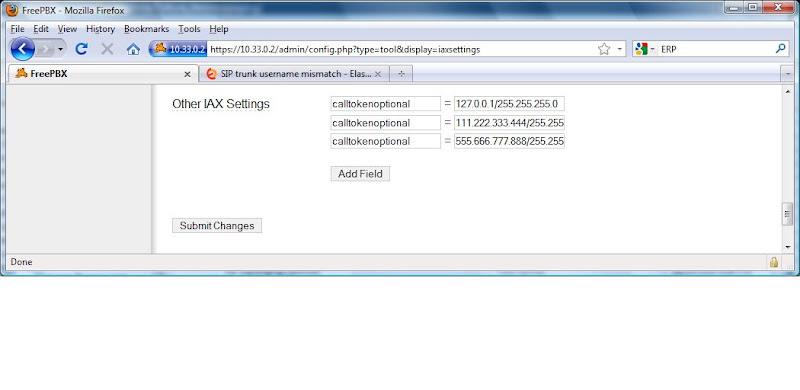 SIP trunk username mismatch | Elastix