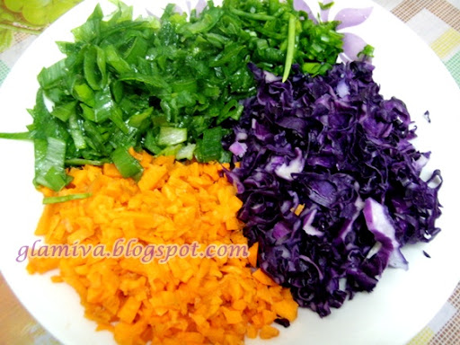 recipe baked vegetable carrot and purple lettuce wrap with popia