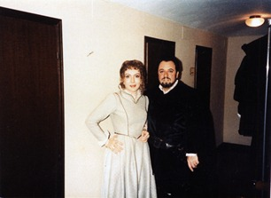 Nelly Miricioiu with Carlo Bergonzi during a 1985 performance of LUCIA DI LAMMERMOOR in Modena, Italy