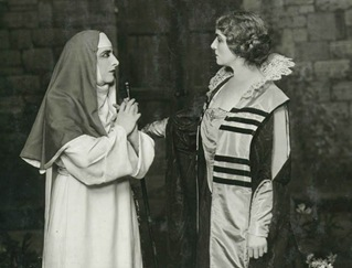 Geraldine Farrar as Suor Angelica and Flora Perini as the Zia Principessa in the world premiere of Puccini's SUOR ANGELICA [Photo by White Studio]