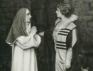 Geraldine Farrar as Suor Angelica and Flora Perini as the Zia Principessa in the world premiere of Puccini's SUOR ANGELICA [Photo by White Studio]